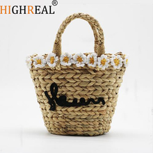 Flower Embroidery Bohemian Straw Bags for Women Kids Small Beach Handbags Summer Vintage Rattan Handmade Kintted Crossbody Bag