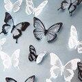 18 шт. черный / белый кристаллический бабочка стикер искусство наклейка домашнего декора настенная наклейки DIY рождество свадебные украшения подарок