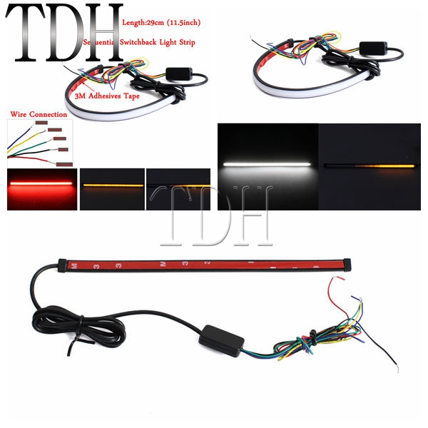 29cm LED Taillight Rear Brake Stop Turn Signal Flexible Light Strip White Red W/Amber Fit For Motorcycles
