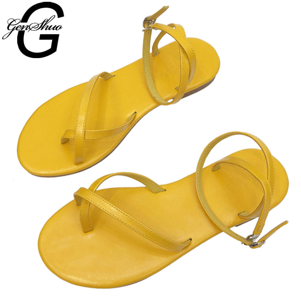 GENSHUO Flat Shoes Women Cross-tied Narrow Band Gladiator Sandals Soft Leather Beach Shoes Summer Sandalias Mujer Female ZapatosGENSHUO Flat Shoes Women Cross-tied Narrow Band Gladiator Sandals Soft Leather Beach Shoes Summer Sandalias Mujer Female Zapatos