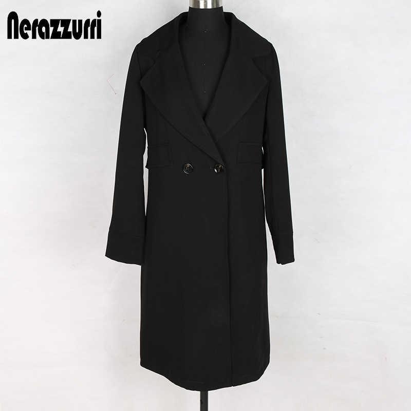 Nerazzurri elegantes blazers de mujer de manga larga de doble botonadura con solapa negra femenina de talla grande casual chaqueta de mujer 5xl 6xl