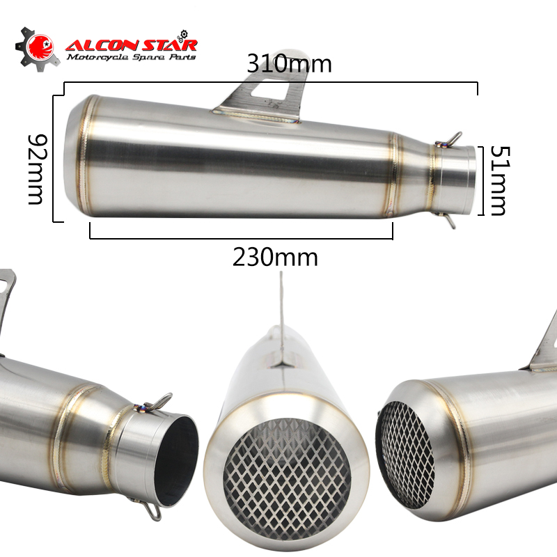 Alconstar- Universal Modified Motorcycle Exhaust Scooter Exhaust Muffler Dirt Pit Bike GP Moto Exhaust YZF R1 R6 FZ6 Z800 MT09