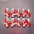 Enthusiastic red petals long false nail strips of glue nail