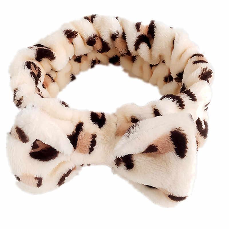 2019 New Coral Velvet Big Bow Polka Dot Striped Leopard Headband Soft Makeup Shower Washing Elastic Hair Bands Hair Accessories