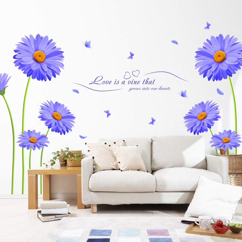 Purple chrysanthemum wall sticker decal For living room sofa TV background wall home decor sticker mural wallpaper