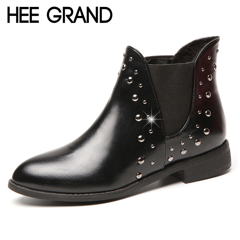 HEE GRAND Pu Patent Leather Autumn Rubber Women Ankle Boots Casual Solid Creepers Shoes Woman Fashion Women Flats Shoes XWX6772 hee grand solid patent leather women oxfords british new fashion platform flats casual buckle strap ladies shoes woman xwd5833
