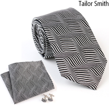 Tailor Smith Luxury Natural Silk Jacquard Tie Hanky Pocket Square Cufflink Gift Set Mens Business Formal Suit Designer Neckwear
