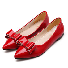 Women Flats Sexy Red Leather Pointed Toe Flat Shoes 2016 Fashion Big Bow Black Women Loafers Office Ladies Autumn Casual Shoes