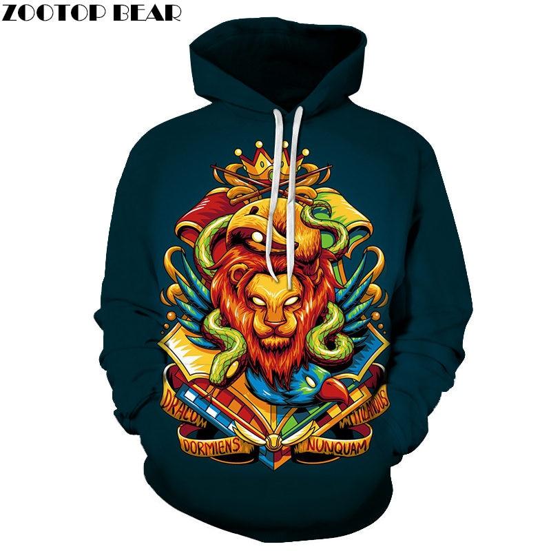 Lion Snake Bird 3D Print Brand Casual Hoody Sweatshirt Male Tracksuit Hoodie Pullover Streetwear Coat Unisex DropShip ZOOTOPBEAR