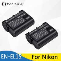 PALO 2pcs EN-EL15 2499mAh Camera Battery for Nikon D500,D600,D610,D750,D7000,D7100,D7200,D800,D850,D810,D810A&1 V1