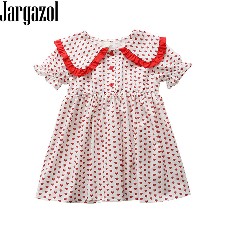 Jargazol Summer Flower Girls Dresses Cartoon Love Printed Short Sleeve Princess Dress Cute Toddler Kids Clothes Party Birthday