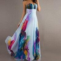 Vestido Largo 2017 Tallas Grandes Big Size Off Shoulder Strapless Floral Dress Chiffon Colorful Long Elegant