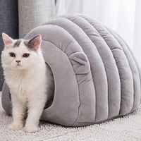 2019 Crystal Short Plush Cat Beds Winter Warm Pet Small Dog Puppy Kennel House for Cats Sleeping Bag Nest Cave Bed Dropshipping