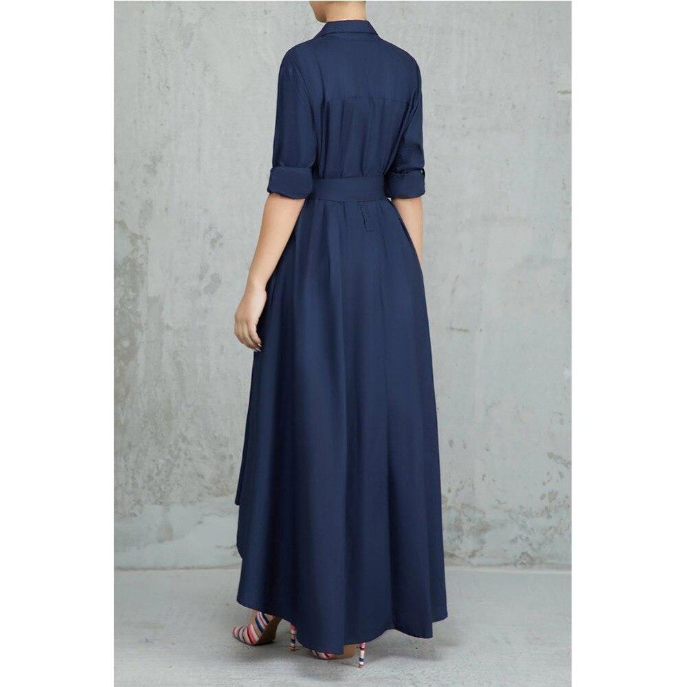e0fea0280d3ab ... Elegant Irregular Long Shirt Dress Women Casual Turn-down Collar Lace  Up Bandage Long Sleeve ...