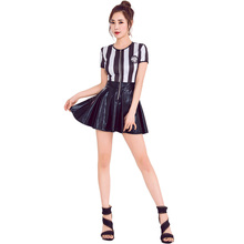 Striped female referee clothing sexy football stage costumes patent leather dress