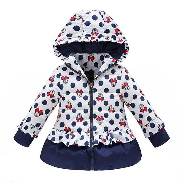 New 2017 Girls Winter Coat&Outwear,Kids Korean Minnie Cartoon Cotton Jacket&Coat,Baby Girls Full sleeve Jacket Free shipping