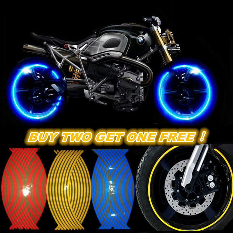 GSPSCN 16 Pcs Strips Motorcycle Wheel Sticker Reflective Decals Rim Tape Bike Car Styling For YAMAHA HONDA SUZUKI Harley BMW