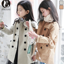 2017 Korean Version Of The Double With Long Belt Gray Coat Solid Color Turn-Down Collar Full Girls Coat AB827
