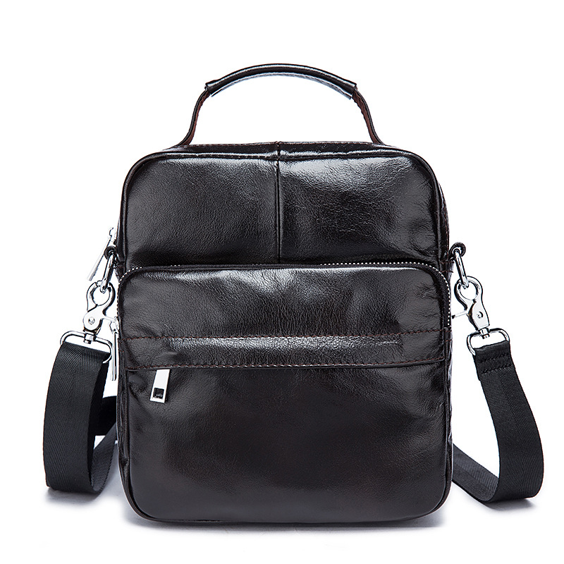 Fashion classic soft leather Genuine Leather men's bag retro casual three-dimensional design vertical men's Messenger bags 247 classic leather