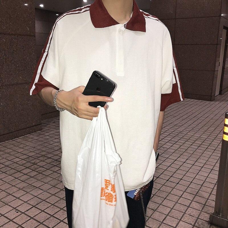 YASUGUOJI New 2019 Summer Fashion Striped Patchwork Short Sleeve   Polo   Shirt Men Casual Loose Mens   Polo   Shirts   Polos   Para Hombre