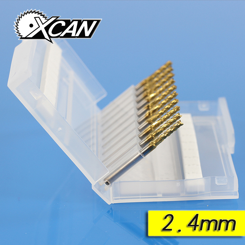XCAN end Mill Carbide milling cutter tool router bits for wood cnc metal head groove Cutter PCB 2.4mm YMT003240 free shipping 400r 25 c25 300 end mill cutter end mill apmt1604 inserts cnc mill cutter cnc tool cnc tool mk new handbags