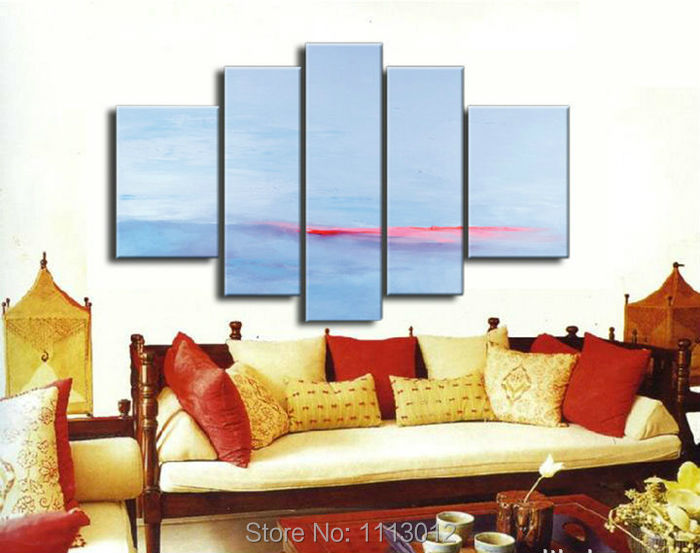 High Quality Blue Red Sandy Beach Oil Painting On Canvas 5 Pcs Sets Wall Art Picture For Living Room Home Decoration Modern Sale