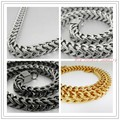"Huge Heavy Fashion Jewelry 316L Stainless Steel Silver Black Gold Wheat Chain Necklace For Mens Gift 24"" 10mm High Quality"