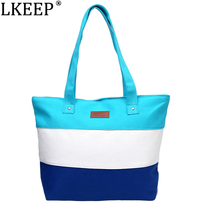2018 Women Ladies Stripes Canvas Shoulder Bag New Hot Messenger Bag Summer Beach Handbag Bags Brand Totes Bolsa Feminina