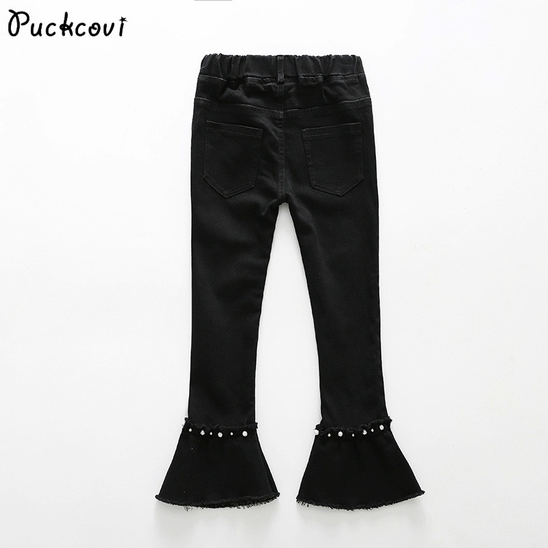 Girls Jeans Kids Children Black denim trousers Kids Raw edge Stretch flares 2018 spring pants Girls bell-bottom pants 3-13 year