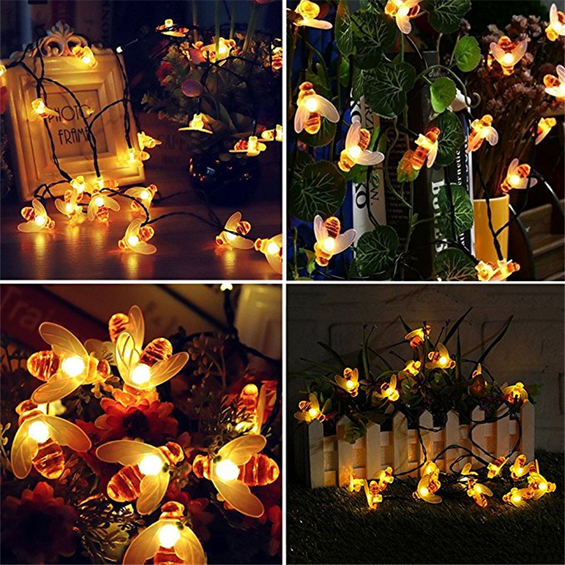 Honey Bee Shape Solar Powered 10M 50 LED Fairy String Lights For Outdoor Garden Fence Decoration Waterproof Tree Haning Light