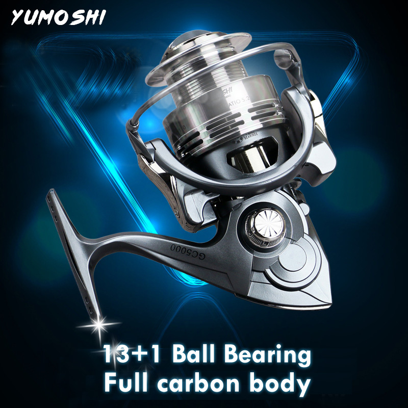 YUMOSHI GC 2000 7000 13 1 Ball Bearings Baitcasting Reel Casting Spinning Reels Metal CNC Rocker Arm Carbon Body Fishing Reel in Fishing Reels from Sports Entertainment