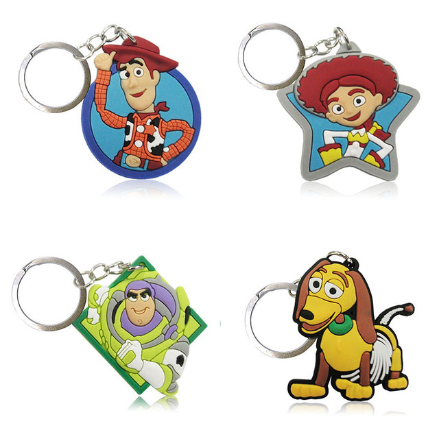 edecdaae67 Hot 4PCS Toy Story 3 Cartoon Keychain Soft PVC Charms+ Keyrings Kids Gift  Party Favors Key Cover Bag Straps Decor Accessories