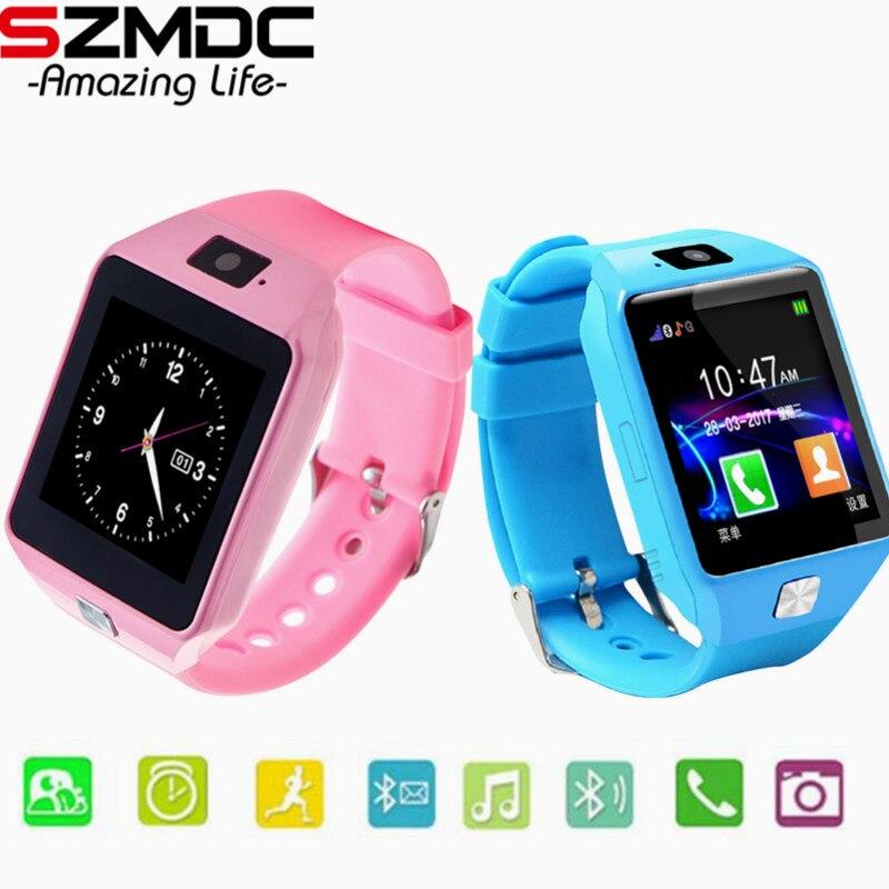 SZMDC reloj inteligente DZ09 soporte SIM TF tarjetas para Android IOS teléfono los niños Cámara mujeres Bluetooth Reloj con caja de venta al por menor de Rusia