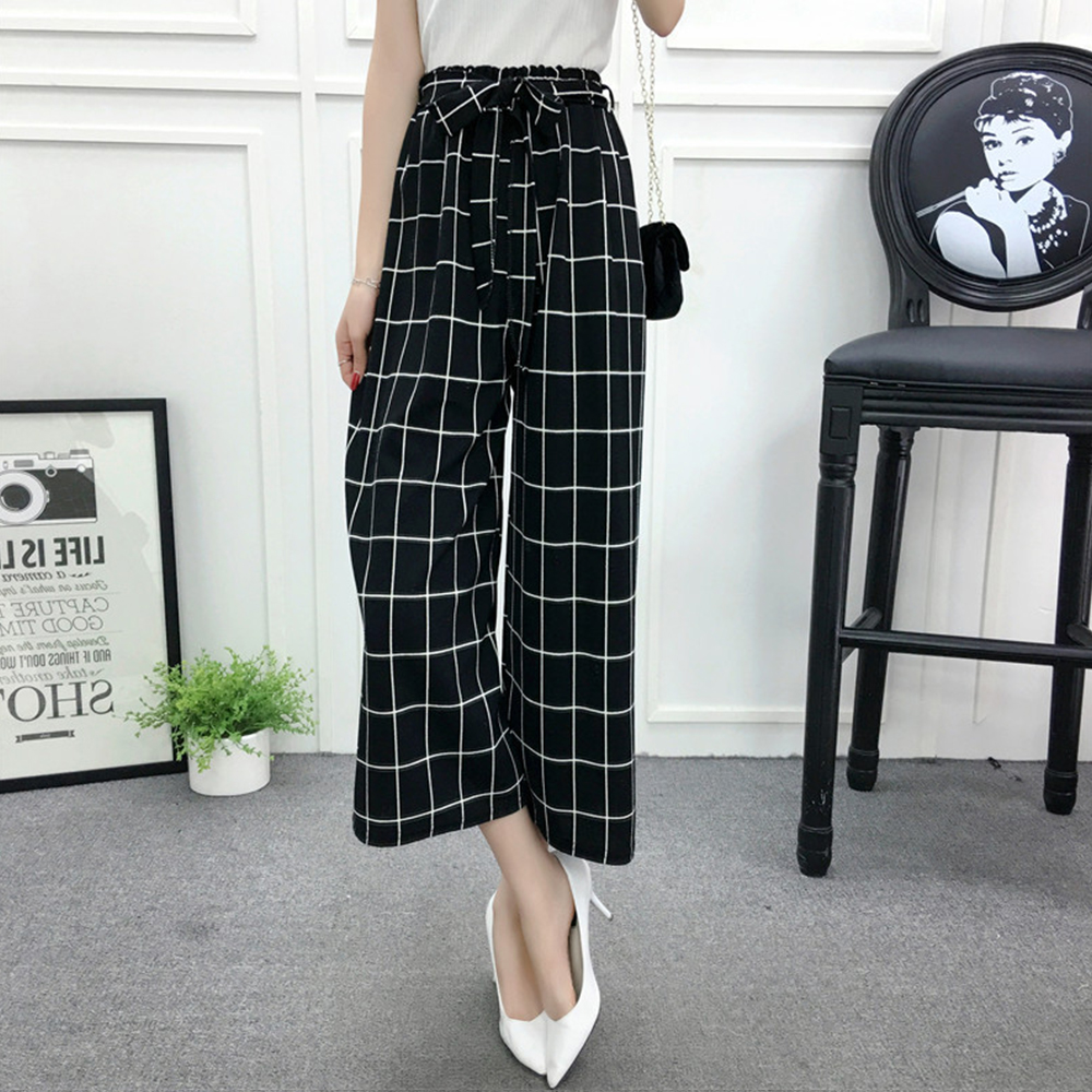 Stripe   Wide     Leg     Pants   Women Elegant Black Plaid High Waist Loose Calf-Length Harem   Pants   Korean Office Ladies Palazzo Trousers
