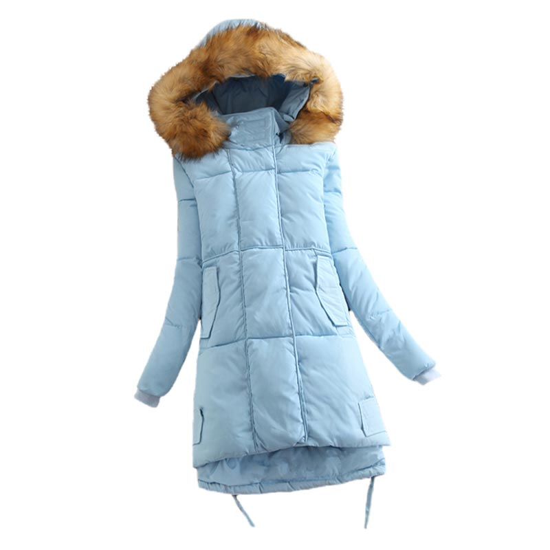 New Arrival Winter Wadded Jacket Women Fur Collar Thickening Down Cotton Coat Hooded Medium Long Slim Padded Women Parkas PW0713 winter jacket women hooded cotton padded jacket medium long cotton coat parkas slim women wadded warm jacket mujer mz1694