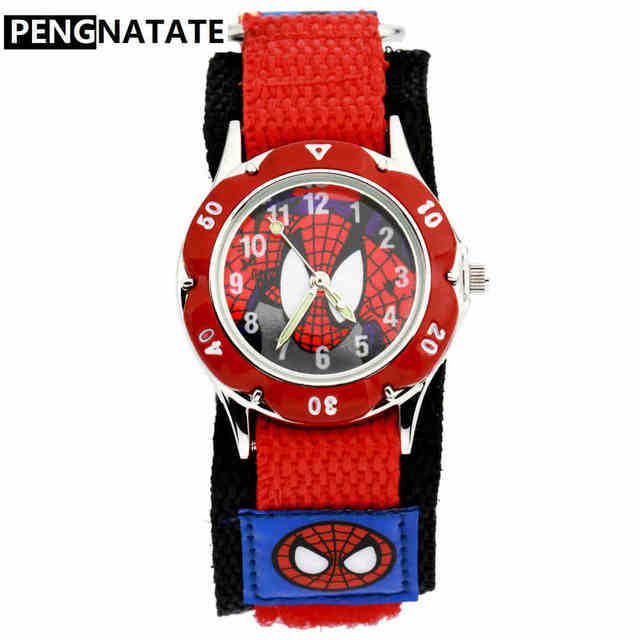 PENGNATATE Kids Watch Cartoon Spiderman Nylon Strap Children Watches Luminous An