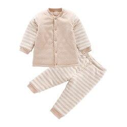 0-2Y organiczny kolorowy bawełniany zestaw ubranek dla noworodka jesienne zimowe ubrania dla niemowląt chłopcy dziewczęta bawełniany płaszcz dla dzieci