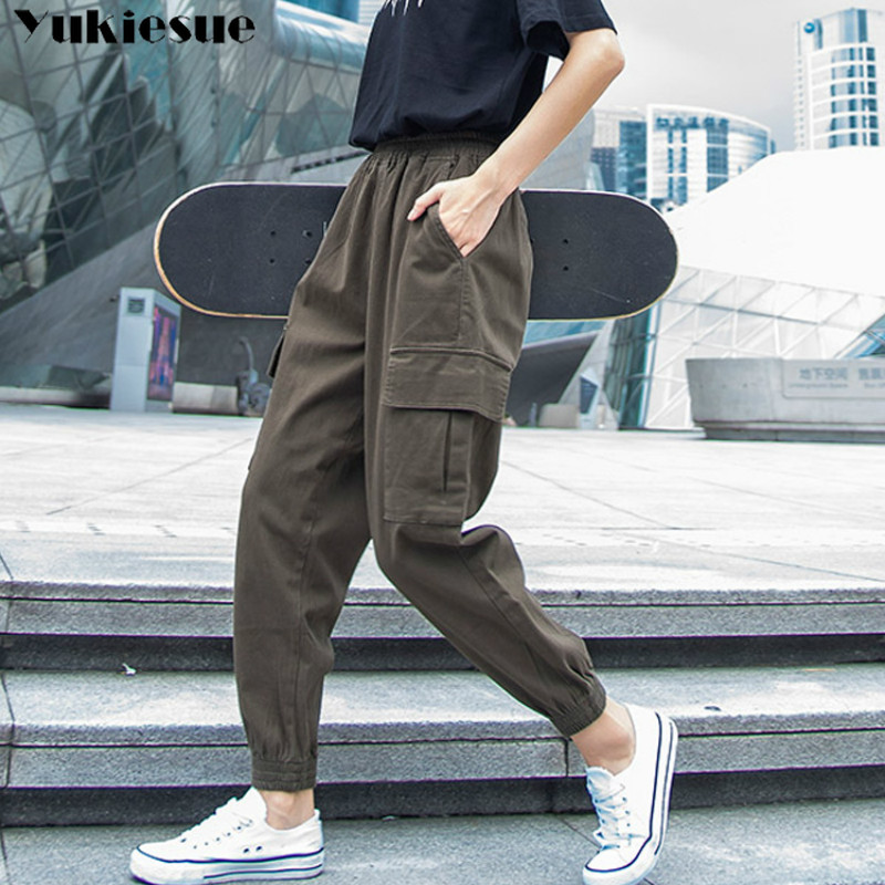 boyfriend women's   pants     capris   with high waist cargo   pants     capris   for women trousers harem woman   pants   female Plus size 5XL
