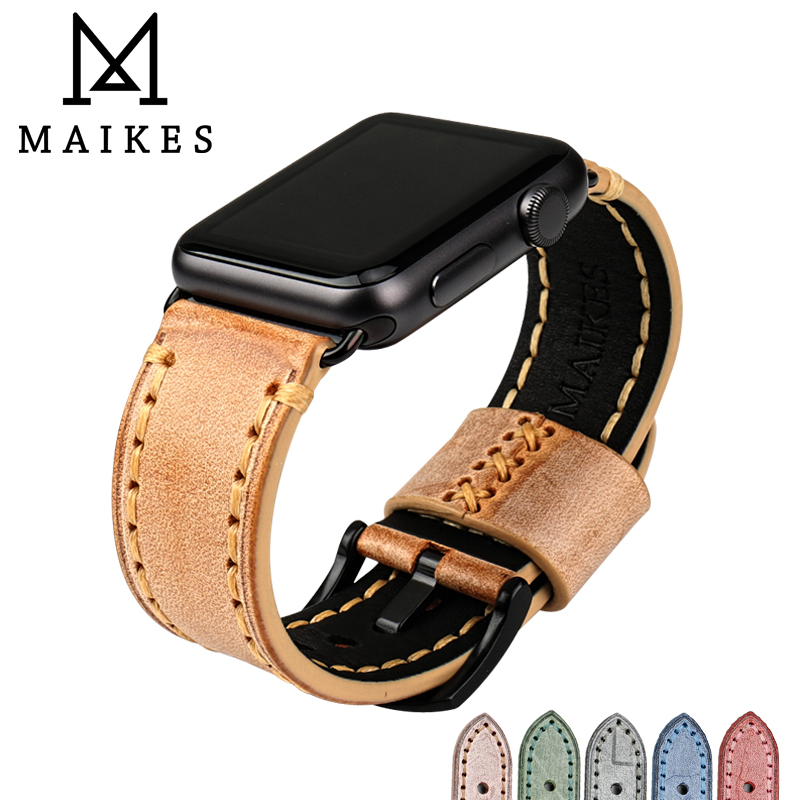 MAIKES Mode orange lederband vintageuhrsammler band für Apple uhrenarmband 42mm 38mm serie 3/2/1 iwatch armband