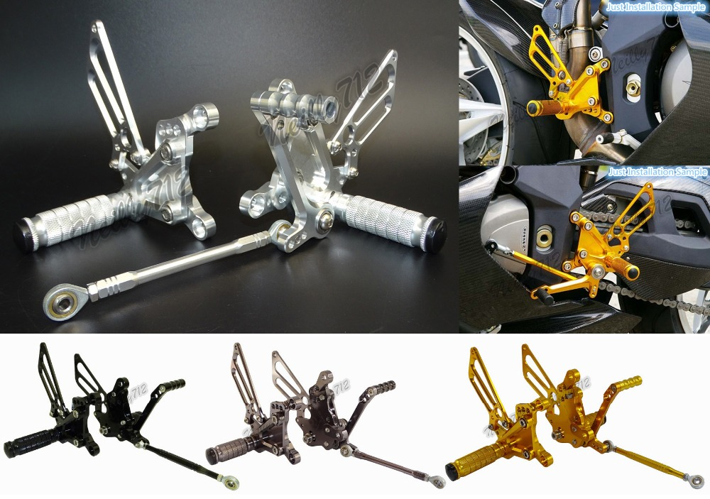 Motorcycle Adjustable Rider Rear Sets Rearset Footrest Foot Rest Pegs For MV Agusta F4 1998 1999 2000 2001 2002 2003 2004-2009 waase cnc adjustable rider rear sets rearset footrest foot rest pegs for suzuki gsxr600 gsxr 600 2000 2001 2002 2003 2004 2005