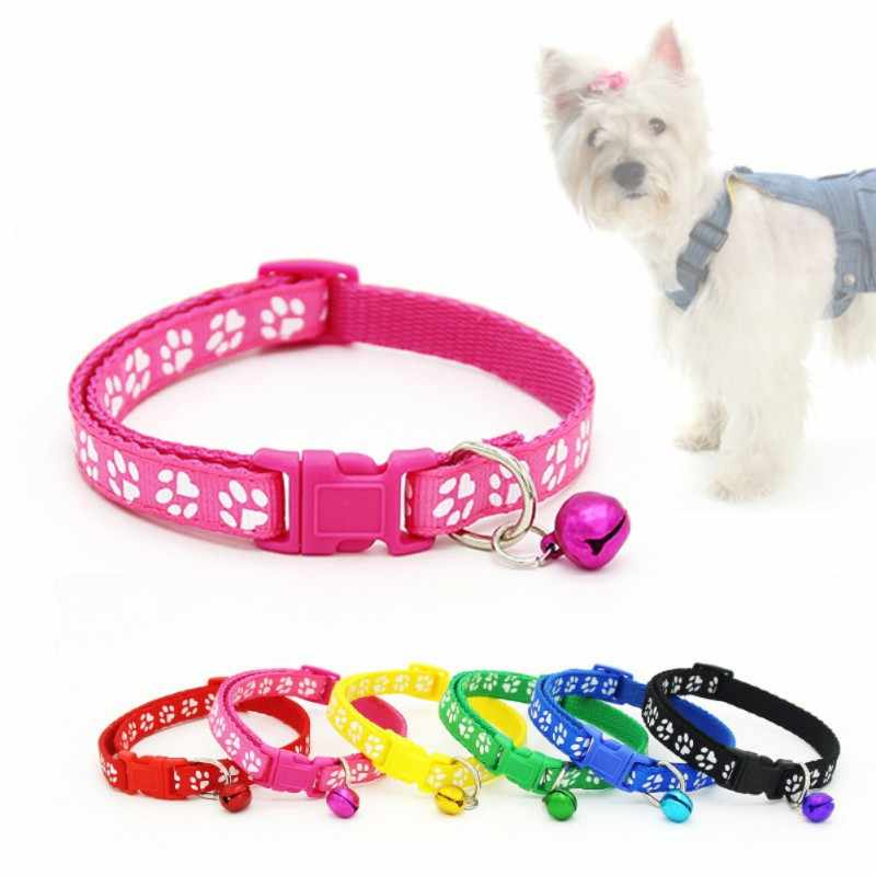 Pet Colorful Collar Dog Cat Puppy Cat Pet Accessories Footprint Safety Adjustable Nylon Leash Bell Collars