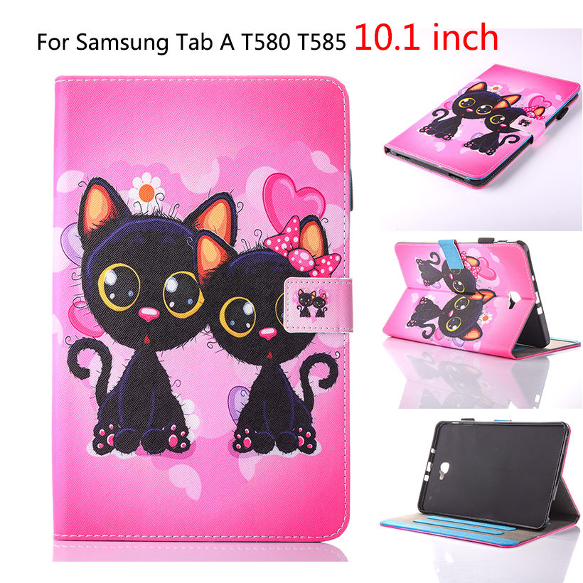 Fodral för Samsung Galaxy Tab A6 10.1 2016 T580 SM-T585 T580N Cover Funda Tablet Mode Cartoon Cat Print TPU + PU Skinn Shell