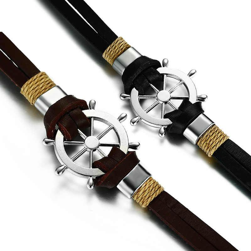 Vnox ster Design bransoletka męska bransoletka dwuwarstwowa skóra klasyczny vintage codzienny Sport żeglarstwo biżuteria