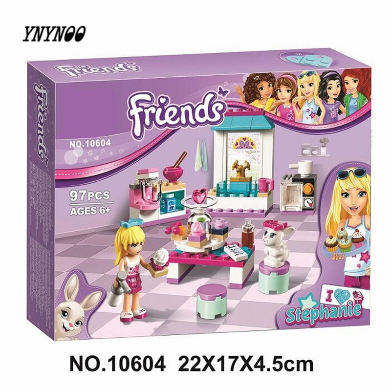 YNYNOO 10604 Bela Friends Series Stephanie's Friendship Cakes Model Building Block Bricks Compatible With LEPIN Friends 41308 конструктор lego friends кондитерская стефани 41308