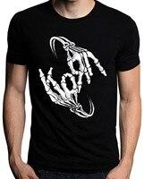 Cartoon Print T Shirt Free Shipping Gildan Short Korn Band Skeleton Sign Bone Logo Men Printing