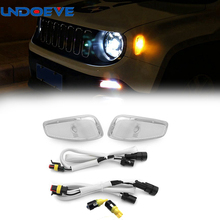 Undoeve Pack of 2 Pcs Lens Amber LED Lights Side Marker Turn Signal Lamps Update Kit For Jeep Renegade
