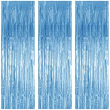 METABLE 3 Pack Foil Curtains Metallic Fringe Curtain for Birthday Party Photo Backdrop Wedding Event Decor (Blue)