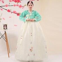 Горячая Распродажа зеленый с длинными рукавами с цветочным узором корейский национальный традиционный костюм ханбок для женщин