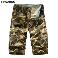 YIHUAHOO Summer Shorts Men Knee Length Printed Camouflage Cotton Bermuda Short Pants Casual Cargo Men Military Shorts MGND 1606