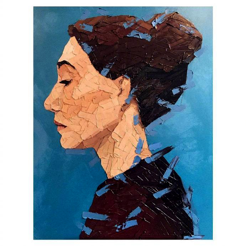 Hand Painted Knife Oil Painting Woman Portrait Wall Art Canvas Painting for Living Room Office Wall Decor Vintage Home Decor Art